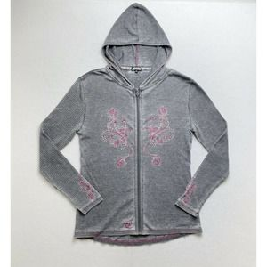 Cowgirl Hardware Womens Sz XL Waffle Knit Hoodie Embroidered Rhinestone Grey